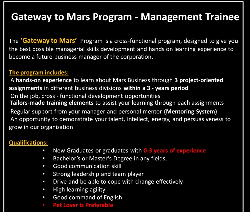 Gateway to Mars Program - Management Trainee
