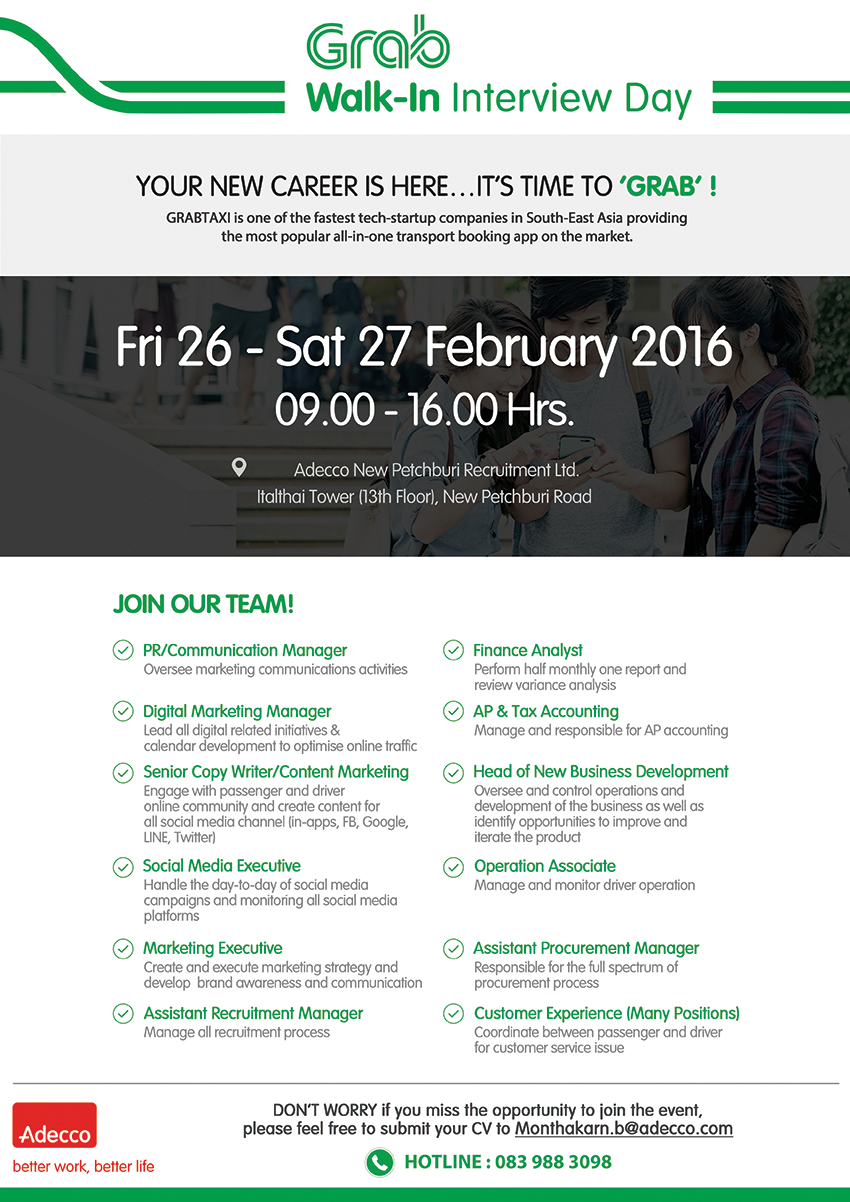 Grab Walk-in Interview