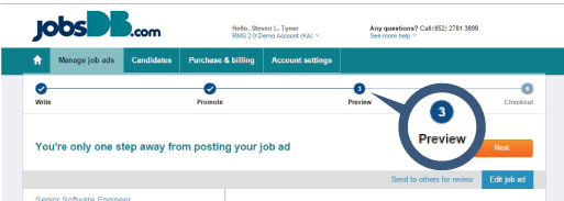 Preview job ad