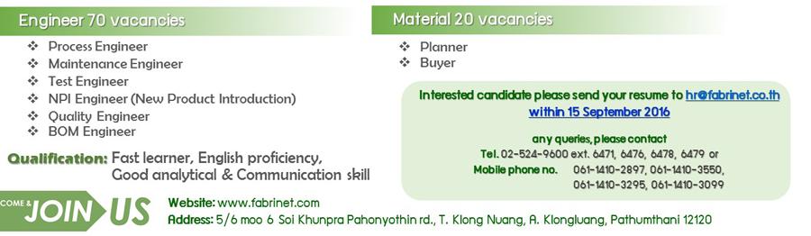 Fabrinet Material jobs