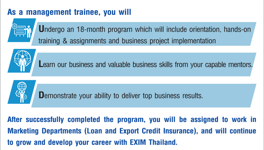 EXIM Thailand Management Trainee Program in 2017 | jobsDB