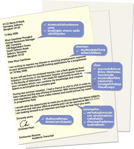 ตัวอย่างจดหมายสมัครงาน