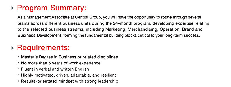 Central Group Management Associate Requirements