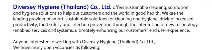 Diversey Hygiene Customer Service jobs