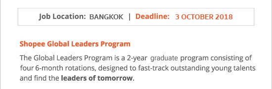 Shopee Global Leaders Program 2018